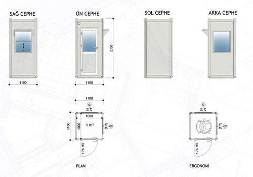 110 x 110 Panel Kabin (Sol Kapı)