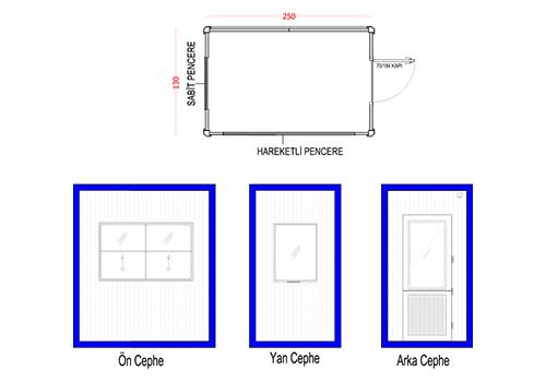 130 x 250 Panel Kabin