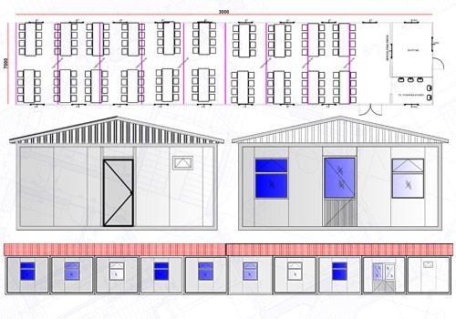 210 m² Yemekhane Konteyneri