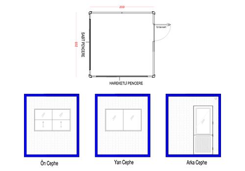 210 x 210 Panel Kabin