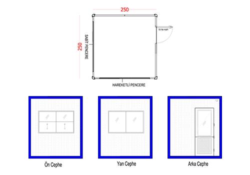 250 x 250 Panel Kabin
