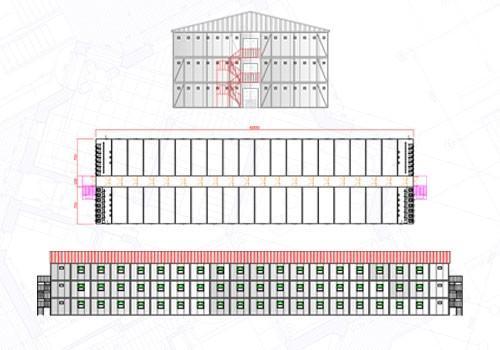 2880 m2 Üç Katlı Yatakhane Konteyneri