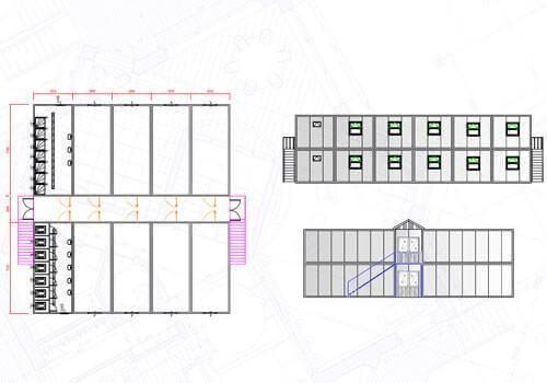 384 m² İki Katlı Yatakhane Konteyneri