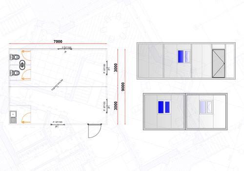 42 m² Yemekhane Konteyneri