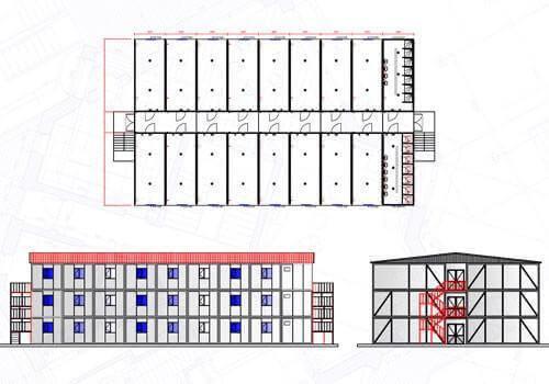 432 m2 Üç Katlı Yatakhane Konteyneri