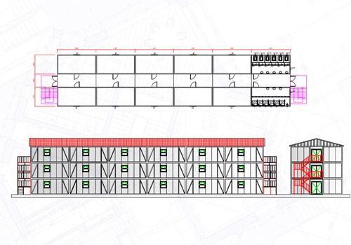 864 m2 Üç Katlı Yatakhane Konteyneri